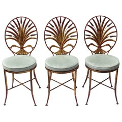 Set of Three Sheaf of Wheat Gilt Metal Chairs