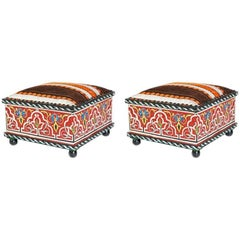 Pair of Hand-Painted Foot Stools