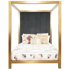 Modern Brushed Brass Four-Poster Queen Bed with Channel Tufted Velvet Headboard
