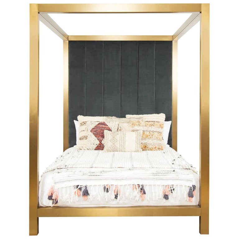 Modern Brushed Brass Four-Poster Queen Bed with Channel Tufted Velvet Headboard For Sale
