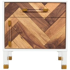 Modern Oiled Walnut Herringbone Side Table with Brass and Lucite Legs and Pulls