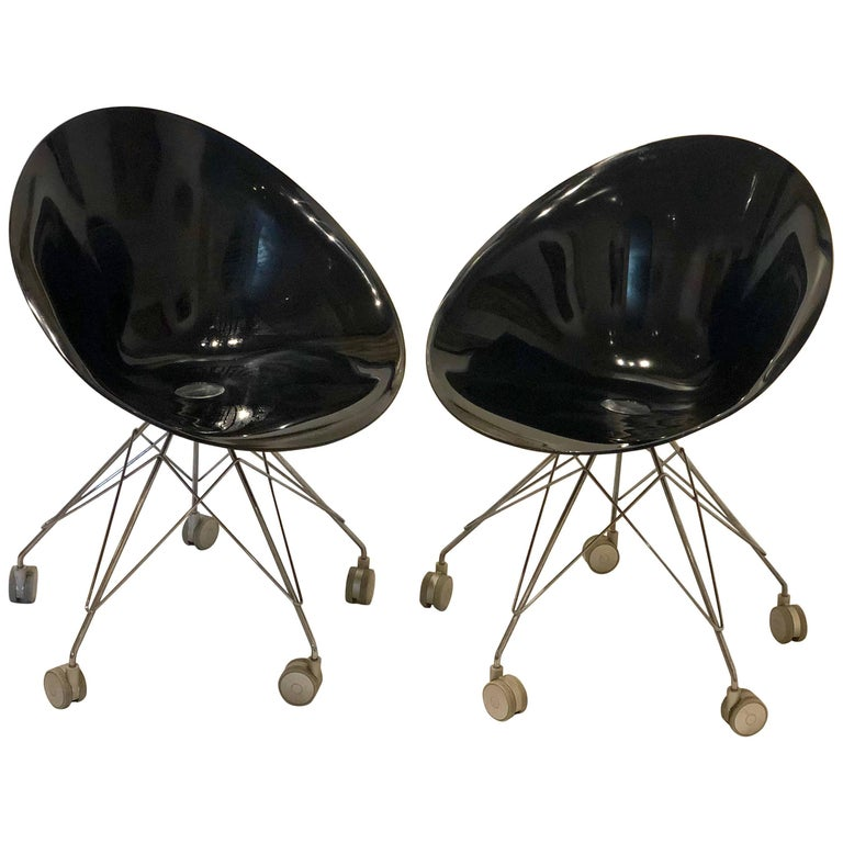 Pair of Eros Chairs by Phillippe Starck for Kartell in Black and Chrome