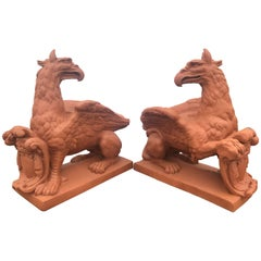 Pair of Monumental Outdoor Opposing Winged Full Bodied Terracotta Gargoyles