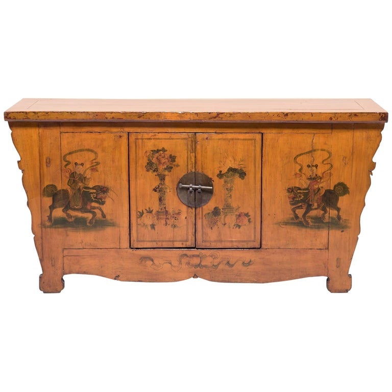 Early 20th Century Chinese Painted Qilin Sideboard For Sale