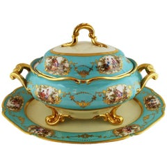 Large Vintage Soup Tureen Platter Blue Aqua Gold German, circa 1930