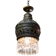 Moroccan-Style Cast, Pierced Bronze and Crystal Pendant