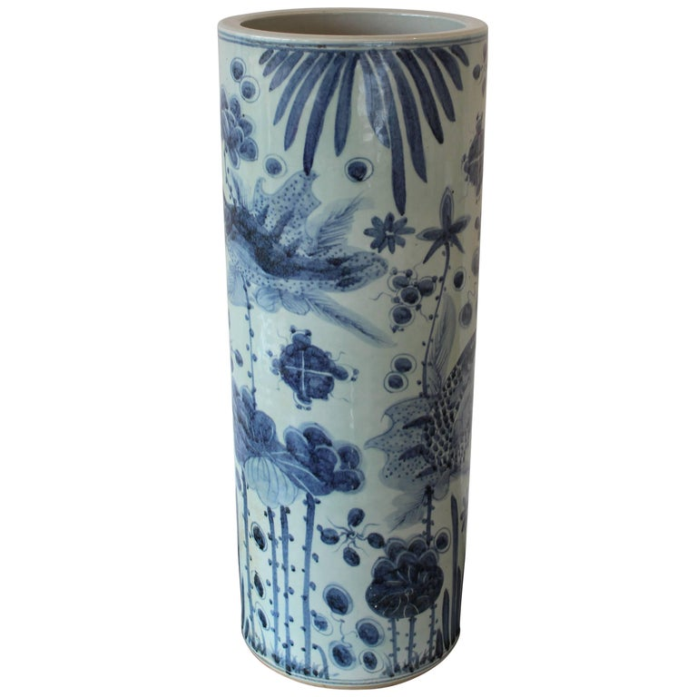 Chinese Blue And White Ceramic Umbrella Stand For Sale At 1stdibs
