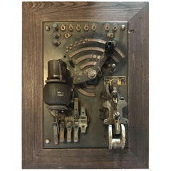 Framed Early Electric Industrial Elevator Control Panel Wall Mounted Sculpture