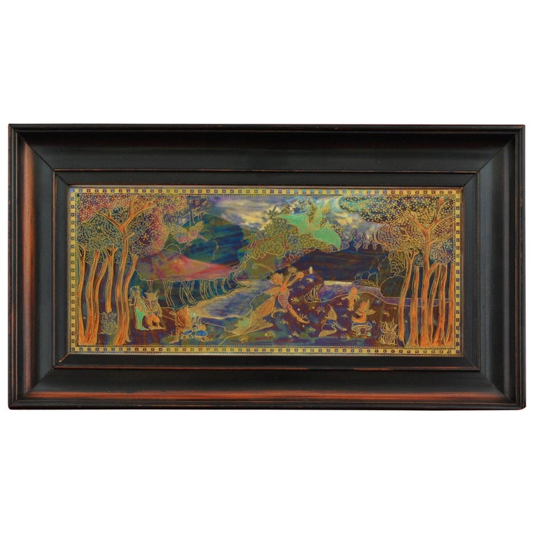 Fairyland Lustre Plaque 'Picnic' by a River, Wedgwood, circa 1925