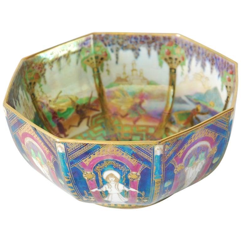 Fairyland Lustre Bowl, Geisha Wedgwood, circa 1925 For Sale