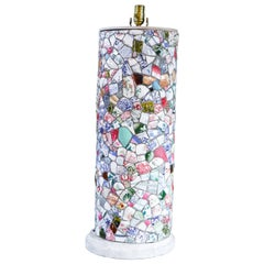 "Tall French Broken Plate ""Pique Assiette"" Mosaic Table Lamp, circa 1940"