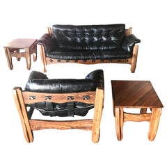 """Don Shoemaker """"Descanso"""" Sofa, Chair and Pair of Tables Cocobolo and Leather"""