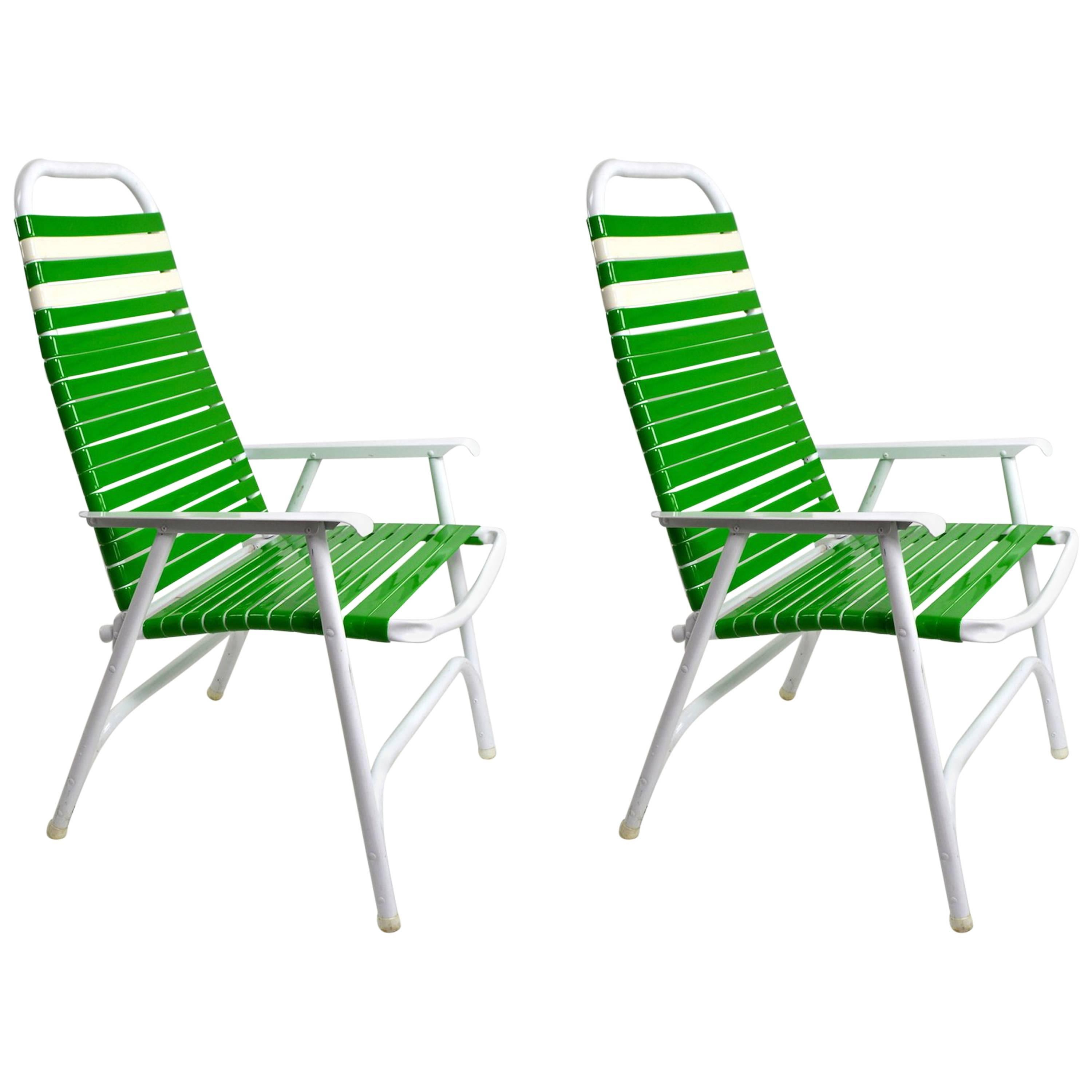 Pair Of Lawn Chairs By Telescope Furniture Company For Sale