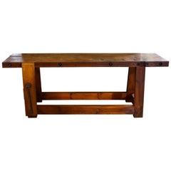 Long Rustic Industrial Wood Work Bench from Belgium, circa 1920