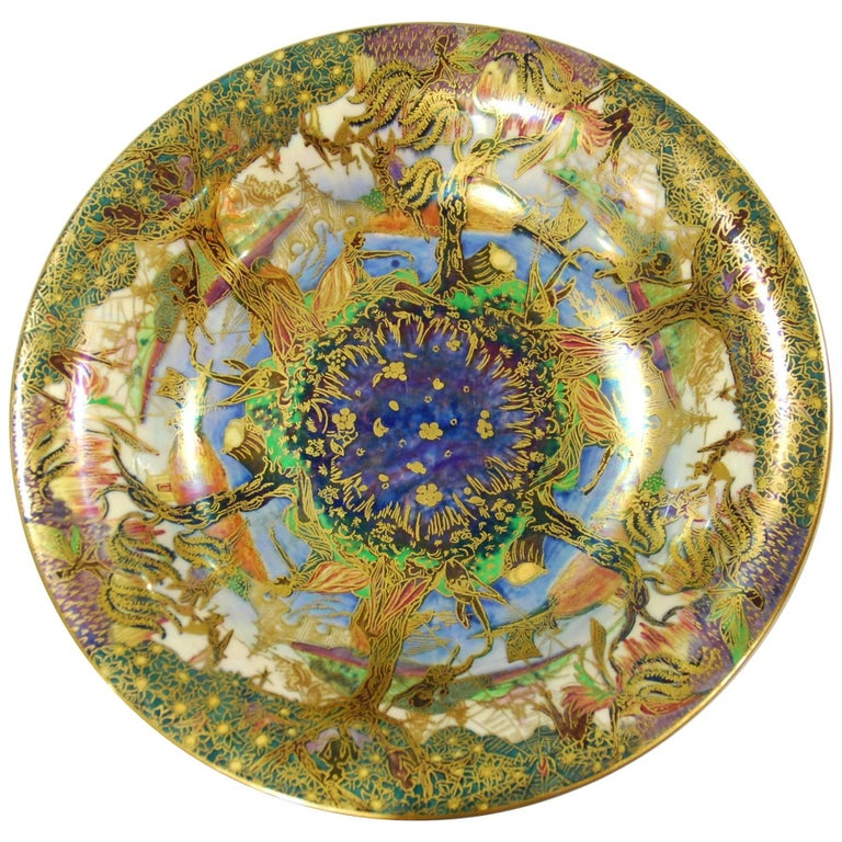 Fairyland Lustre Lily Tray, Jumping Faun, Wedgwood, circa 1925 For Sale