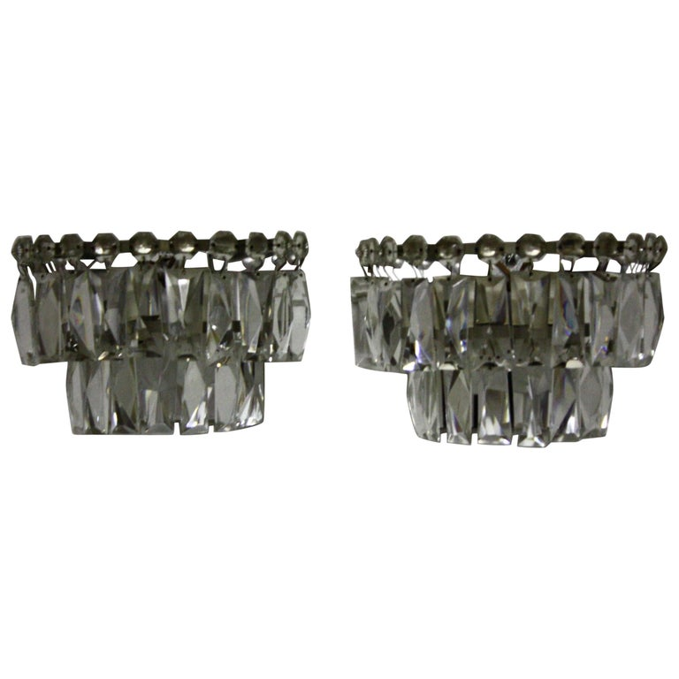 Pair of Midcentury Crystal Wall Sconces by Bakalowits, Austria, circa 1960s