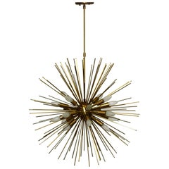 Large Twenty-Light Brass Sputnik or Urchin Chandelier