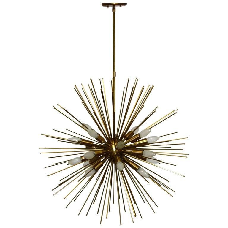 Large Twenty-Light Brass Sputnik or Urchin Chandelier