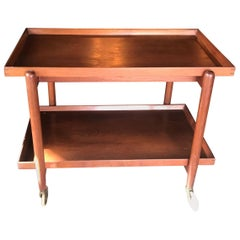 Poul Hundevad Teak Danish Serving Tea Cart Trolley Tray Side Table