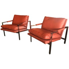 Milo Baughman Thayer Coggin Chrome Lounge Chairs in Leather