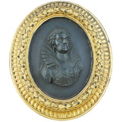 Black Basalt Portrait Medallion, Queen Elizabeth I, Wedgwood, circa 1779