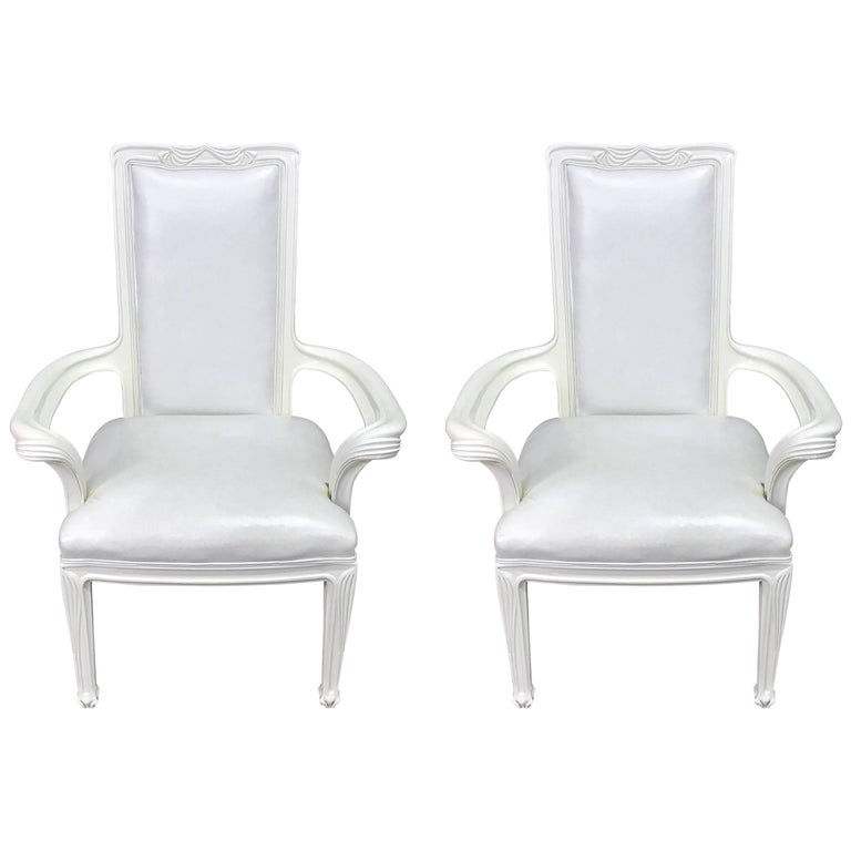 Pair of White Lacquered and Leather Chairs in the Manner of Eugène Vallin