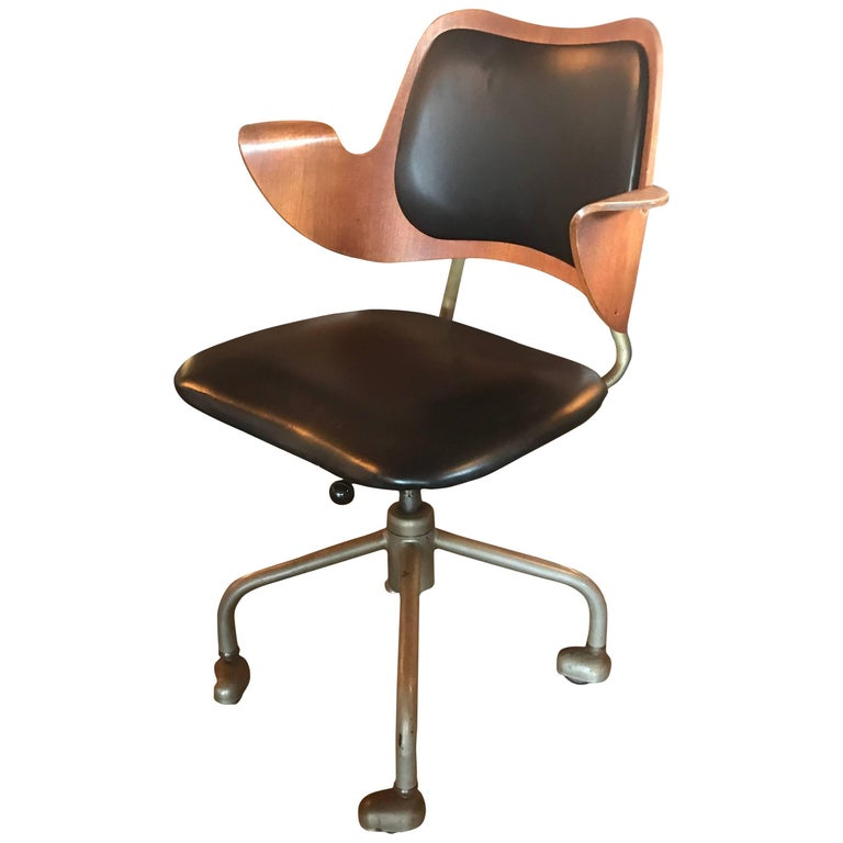 Early Hans Olsen Leather And Bentwood Office Chair On Casters For