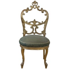 French Gilded Salon Chair with Open Carved Back Round Velvet Seat