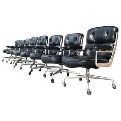 Set of Eight Eames Herman Miller Time Life Executive Leather Office Chairs