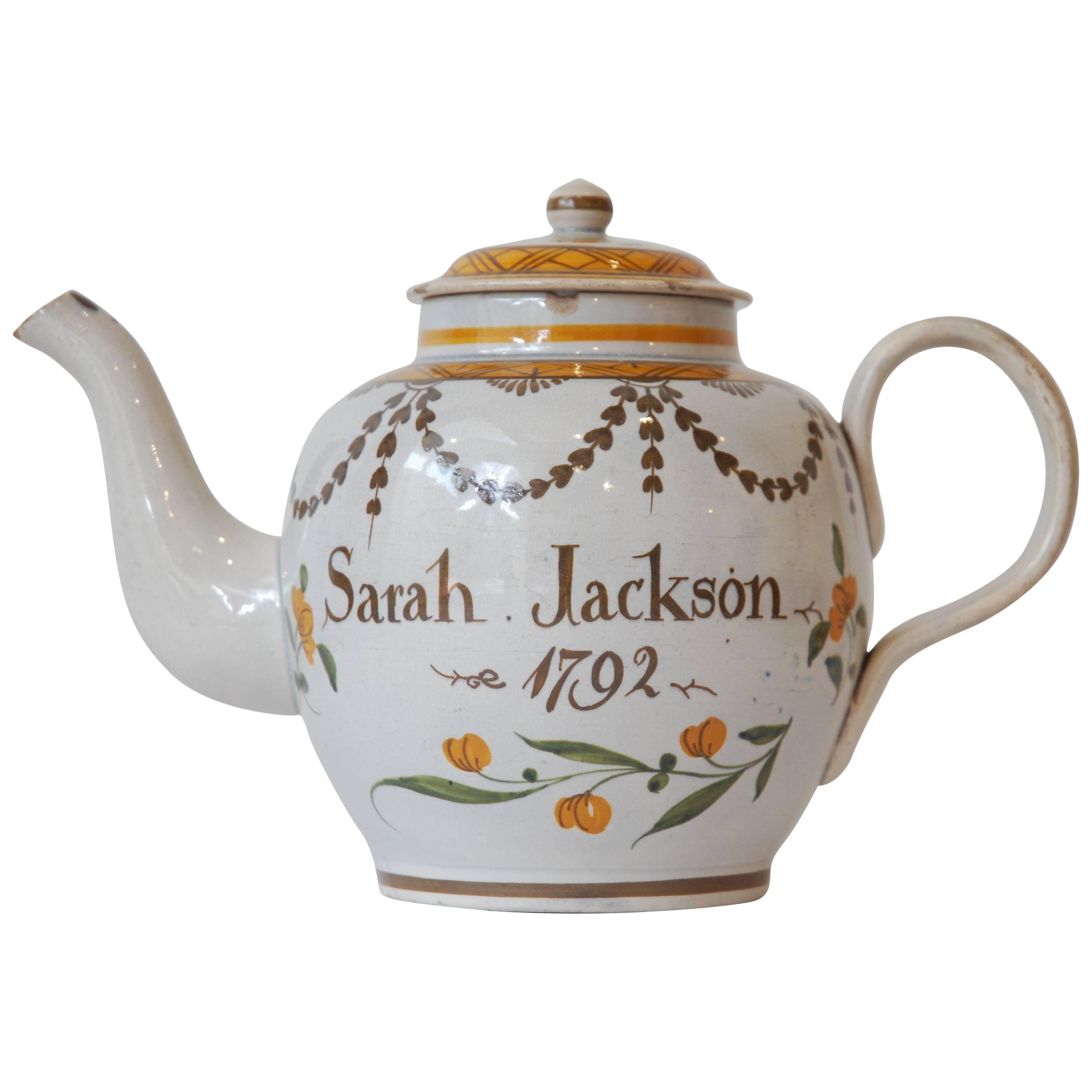 Prattware Teapot, Dated 1792