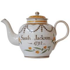 Prattware Teapot, Dated 1792