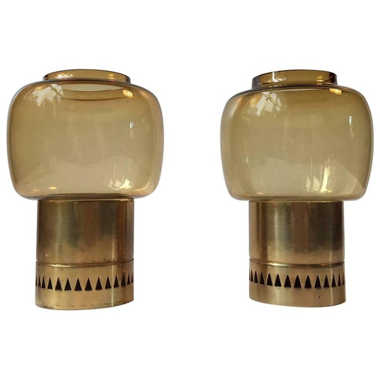 Pair of Mid-Century Smoke Glass and Brass Candleholders by Hans-Agne Jakobsson