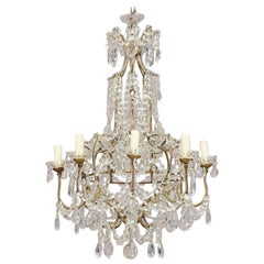 Italian Eight-Light Crystal Beaded Chandelier