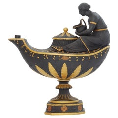 Black Basalt and Gilt Vestal Lamp, Wedgwood, circa 1800