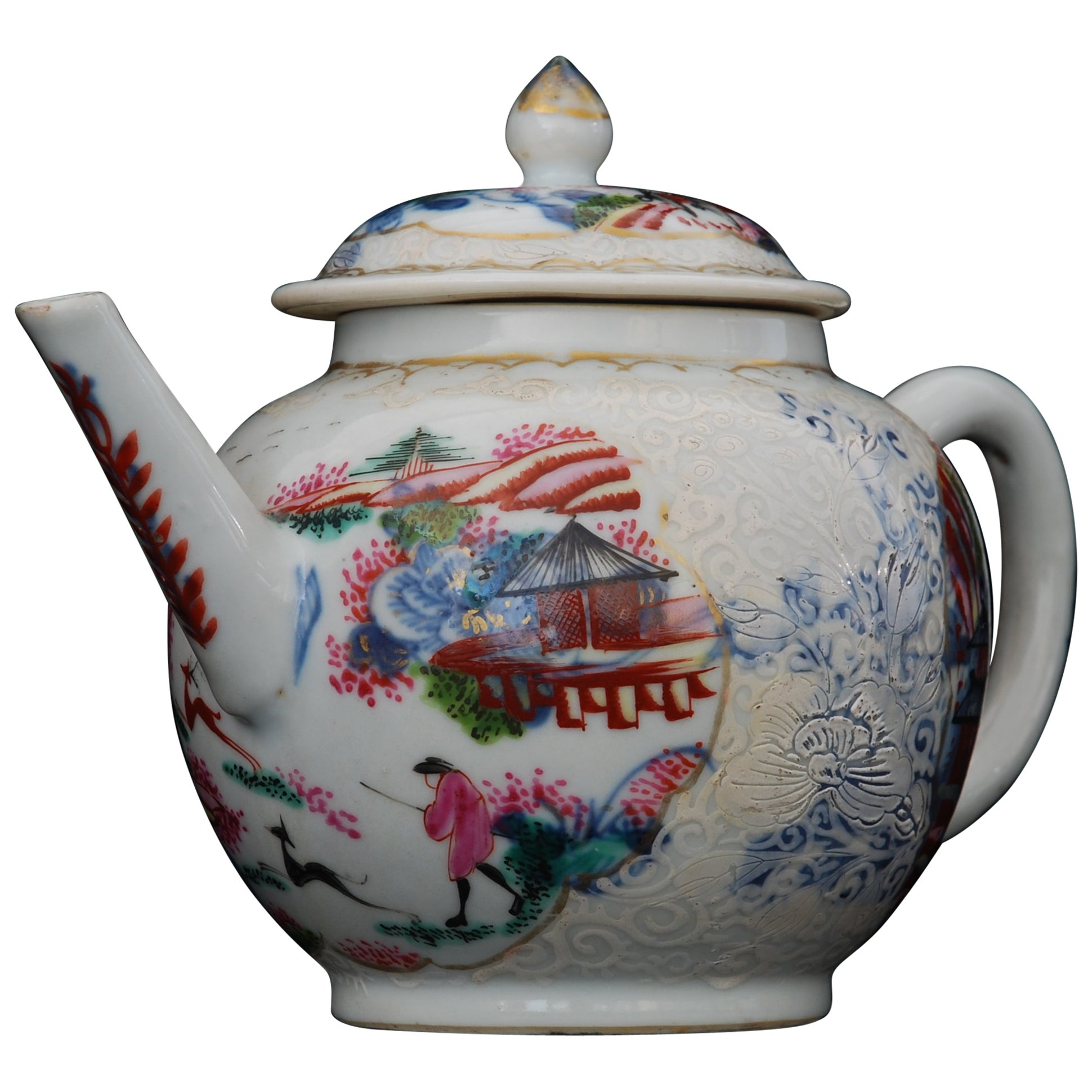 Teapot, Stag Hunt Pattern, China, circa 1740, Decorated in London by Giles