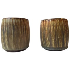 Pair of Midcentury Hare's Fur Glazed Vases by Gunnar Nylund for Rörstrand