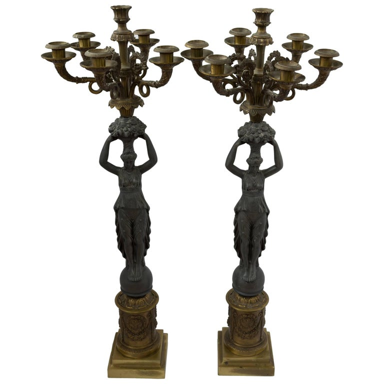 19th Century Bronze Grecian Goddess Six-Arm Candelabra, Pair