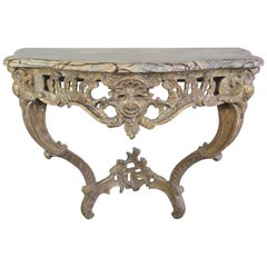 French Giltwood Console with Marble Top, circa 1930s