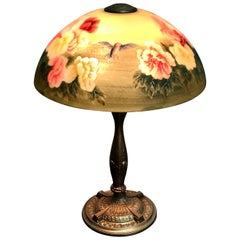 Handel Style Reverse Painted Table Lamp Birds and Flower Motif
