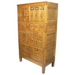 Vintage 1940s Globe Wernicke Tiger Oak and Brass Post Office File Cabinet