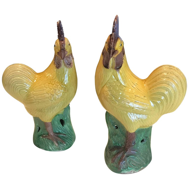 Pair of Chinese Export Porcelain Chickens