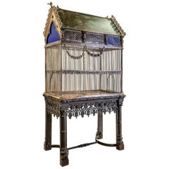 Early Victorian Gothic Birdcage on Stand