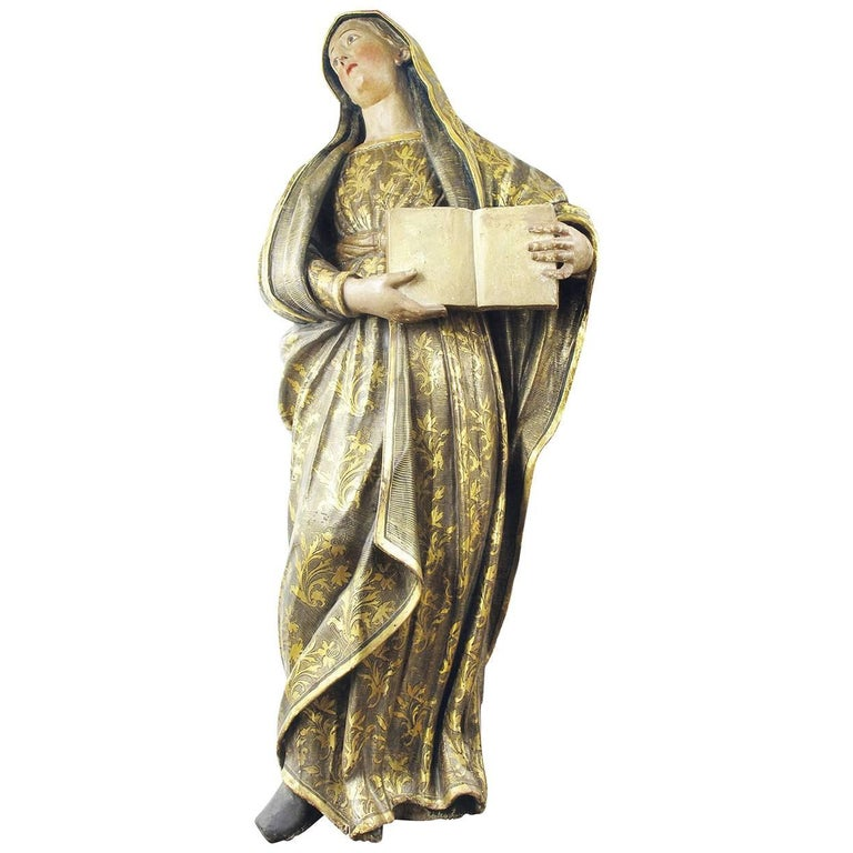 19th Century Italian Polychrome Devotional Figure of Mary