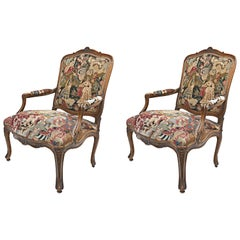 Pair of French 18th Century Louis XV Walnut Framed Fauteuils