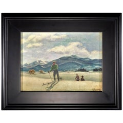 Skiing in Sun Valley, Oil Painting on Canvas Signed Abrams, circa 1938