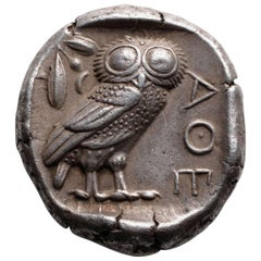 Superb Ancient Greek Silver Owl Tetradrachm Coin from Athens, 454 BC