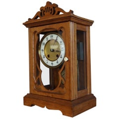 Arts and Crafts Mantel or Table Clock of Fruitwood & Glass w. Enameled Dial Face