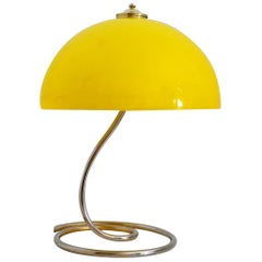 Italian Modernist Acrylic and Brass Desk Lamp, 1970s