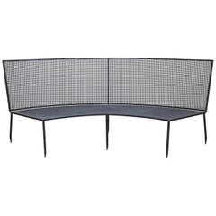 Mathieu Matégot Mid-Century Modern Formalist Black Lacquered Curved Metal Sofa