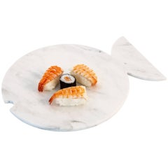 White Marble Plate Design Shape of a Fish